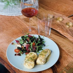 Roasted Halibut and a Glass of Biodynamic Wine