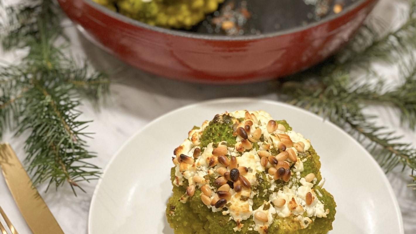 Holiday Side: Roasted Goat Cheese Romanesco