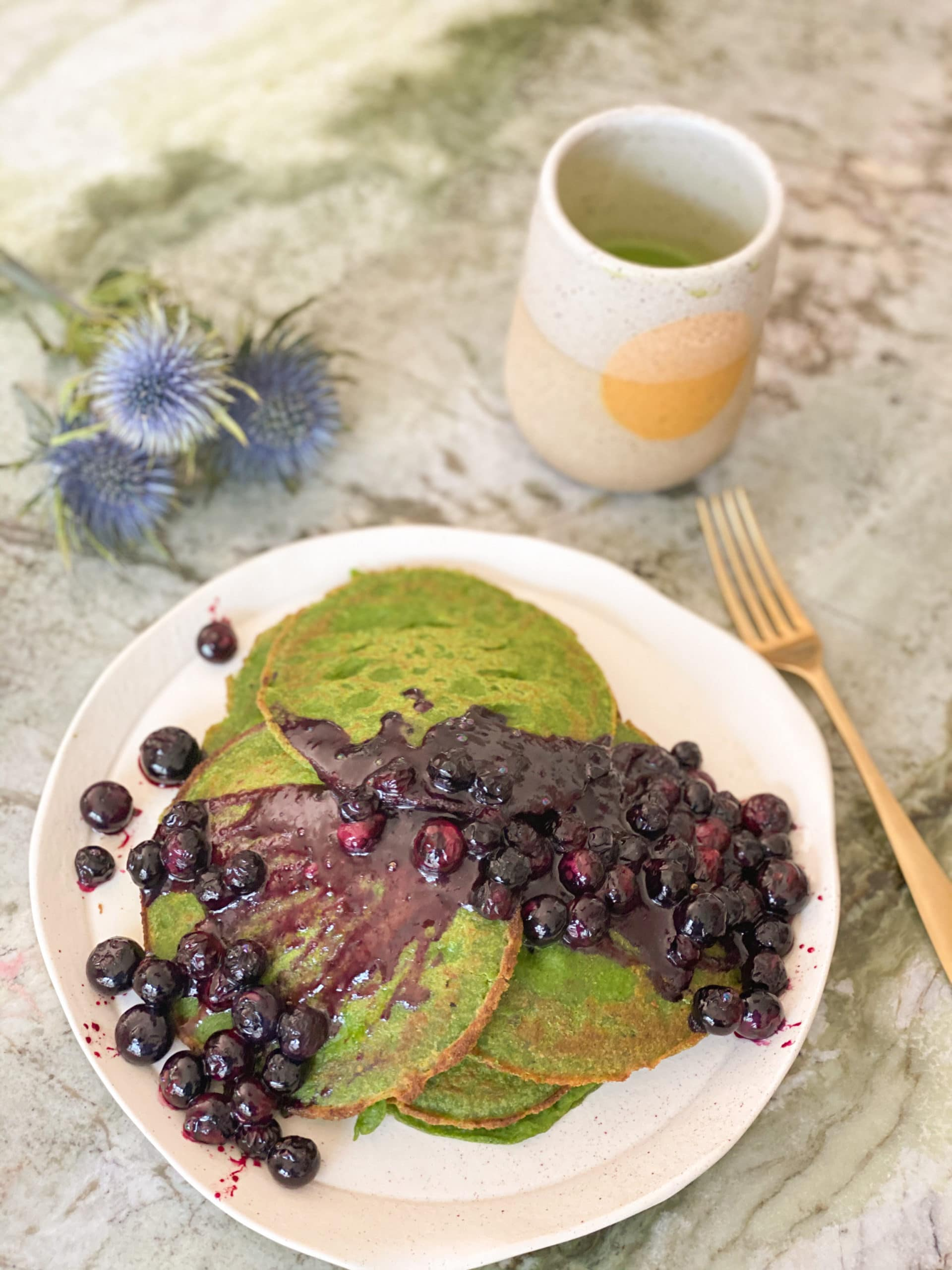 Green Pancakes with Blistered Blueberries