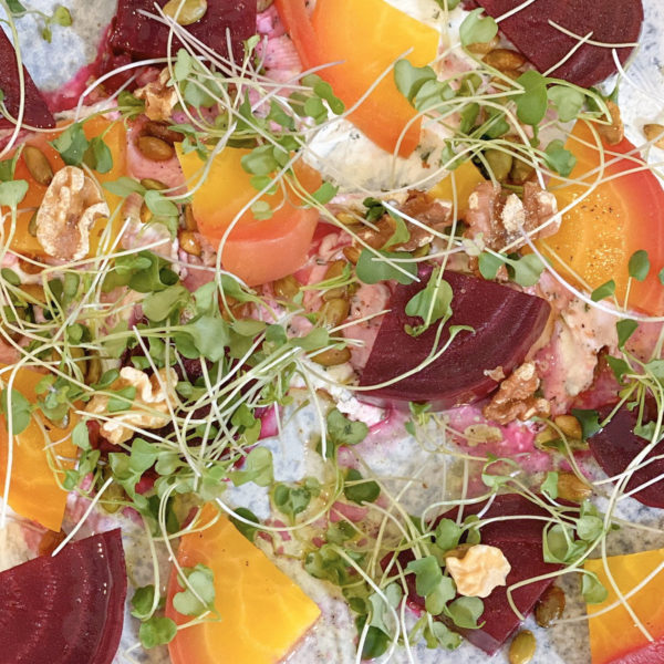 Roasted Beets with Creamy, Herb Goat Cheese
